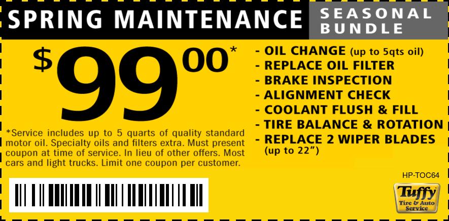 $99.00 Spring Maintenance Oil Change Bundle