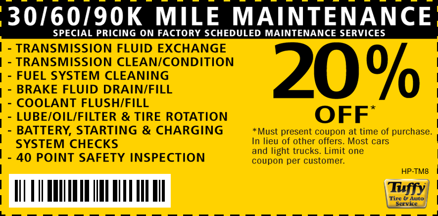 20% OFF Factory Scheduled Maintenance 30/60/90 & 120K
