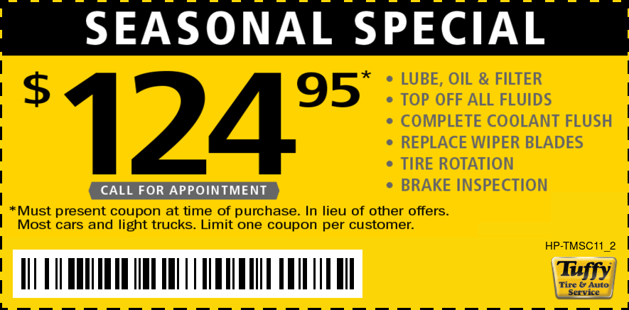 Seasonal Special Oil Change, Coolant Flush, Wiper Blades & Rotation $124.95