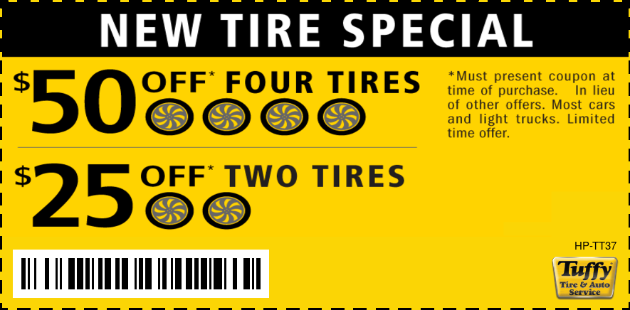 New Tire Special $50 Off Four/$25 Off Two