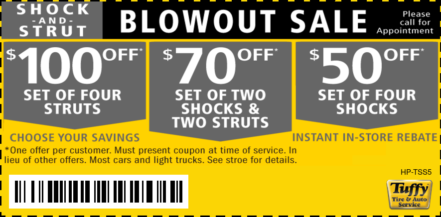 Shock And Strut Blowout Sale, $100 Off, $70 Off, $50 Off
