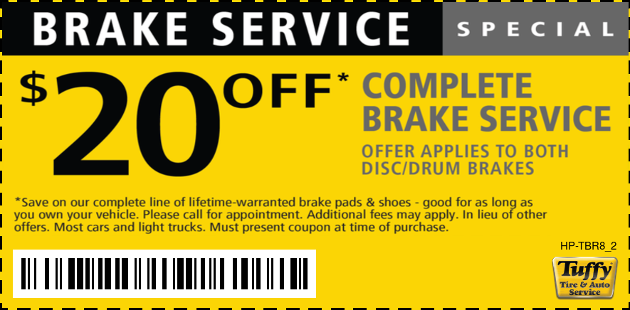 $20 OFF Complete Brake Service (Applies to Both Disc/Drum Brakes)