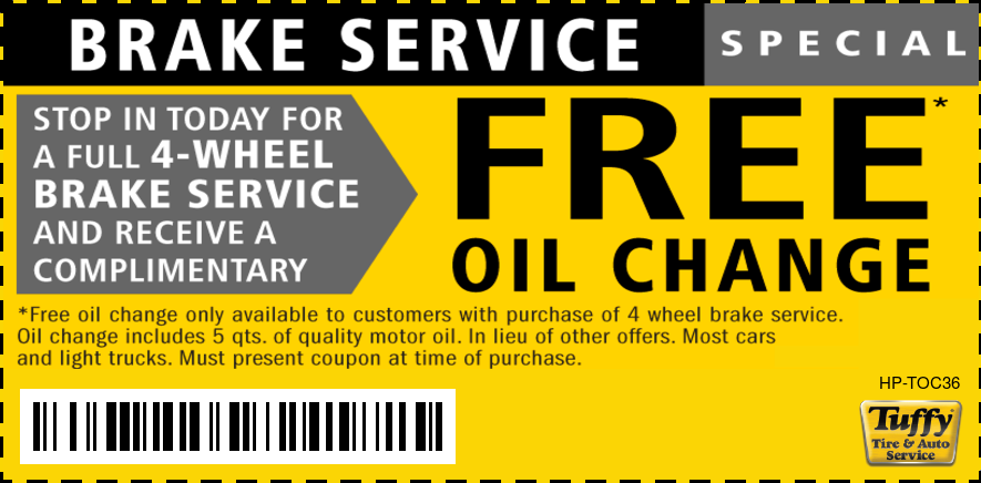 FREE OIL CHANGE W/4 Wheel Brake Service