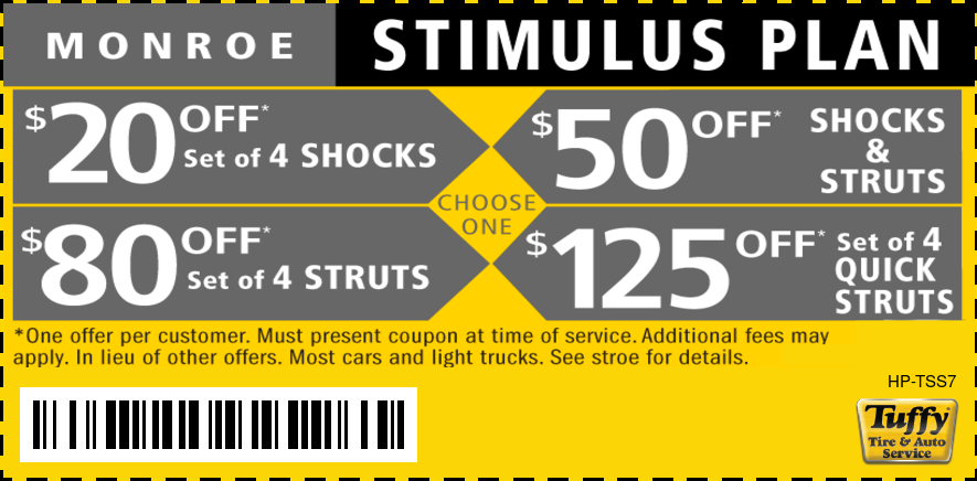 Monroe Stimulus Plan $20, $50, $80 or $125 Off Struts And Shocks