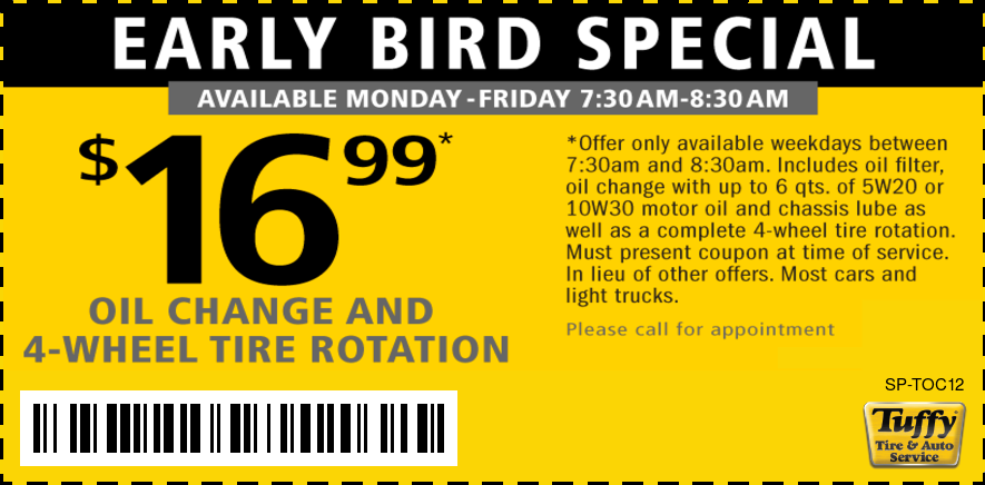 Early Bird Oil Change Tire Rotation 16 99 Tuffy Lorain
