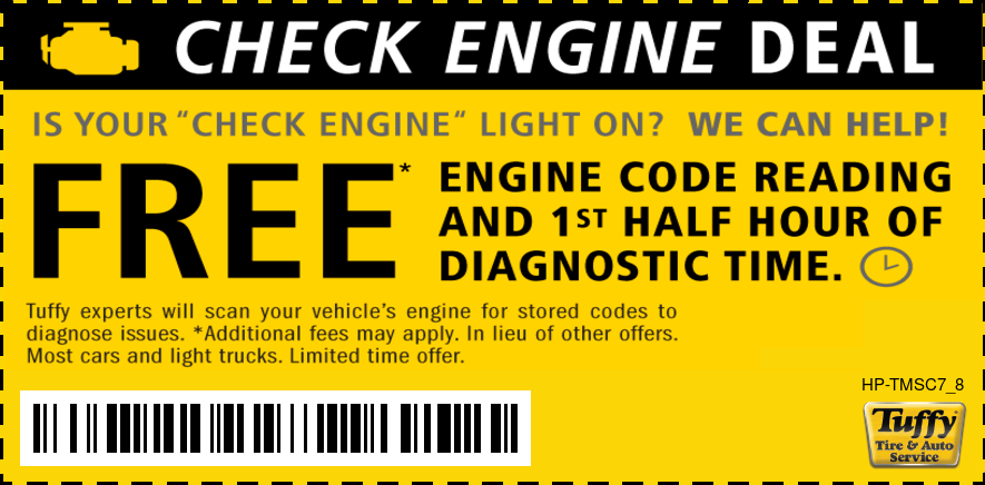 Check Engine Deal Free Code Reading and 1st Half Hour of Diag. Time Free.