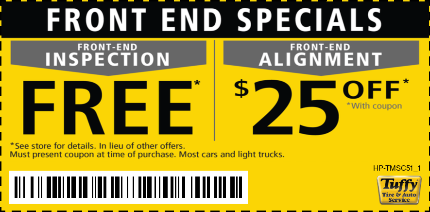 Free Front End Inspection/$25 Off Alignment