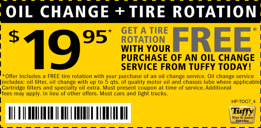 FREE 4-Tire Rotation W/$19.95 Oil Change