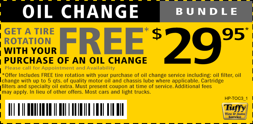 Oil Change W/FREE Tire Rotation $29.95