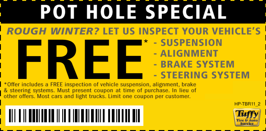 POT HOLE SPECIAL FREE Suspension Steering & Brake System Inspection