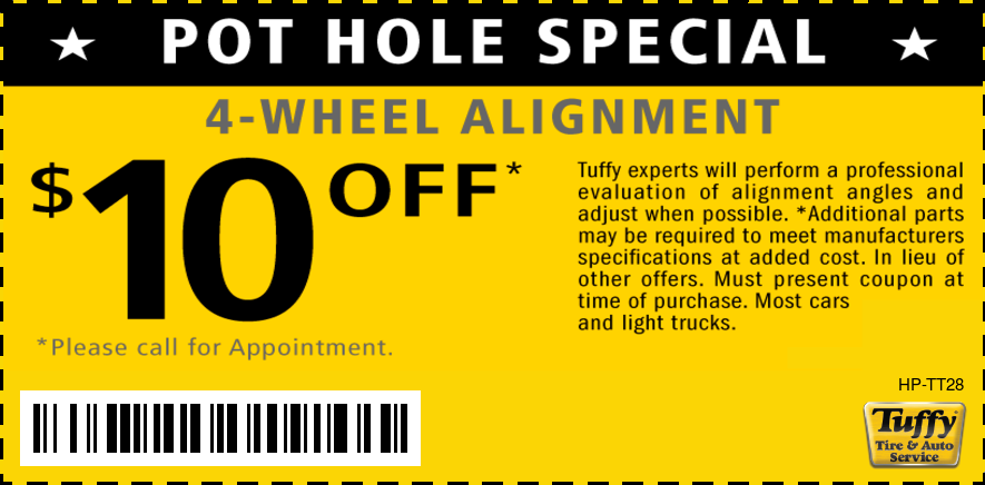 Pot Hole Special, $10 Off 4-Wheel Alignment