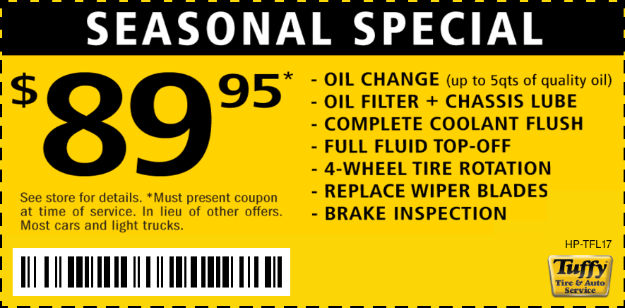 Seasonal Special $89.95 Oil/Coolant Flush/Wipers/Tire Rotate/Brake Inspection