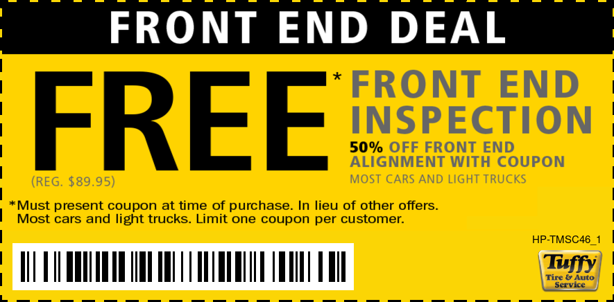 FREE Front End Inspection (Reg $89.95) 50% OFF Front End Alignment