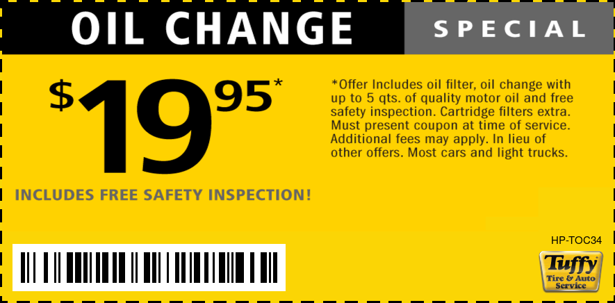 OIl Change $19.95 W/FREE Safety Inspection