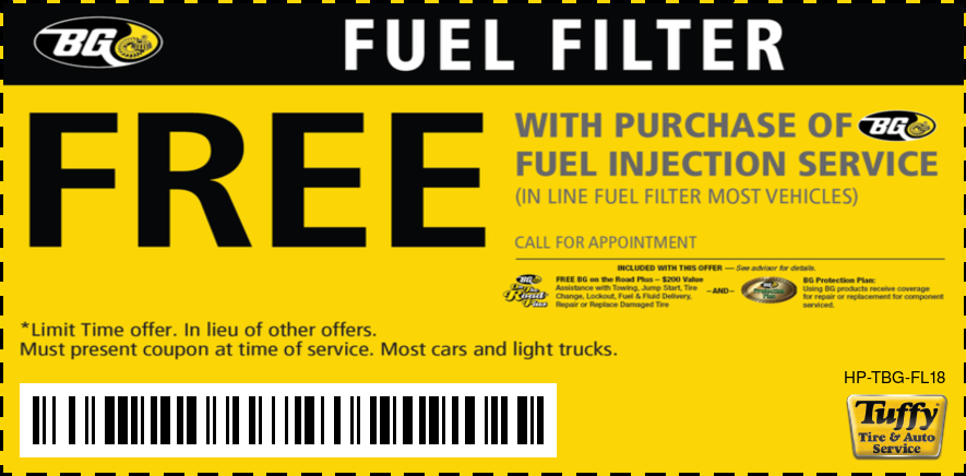 FREE Fuel Filter W/BG Fuel Injection Service Call For Appointment
