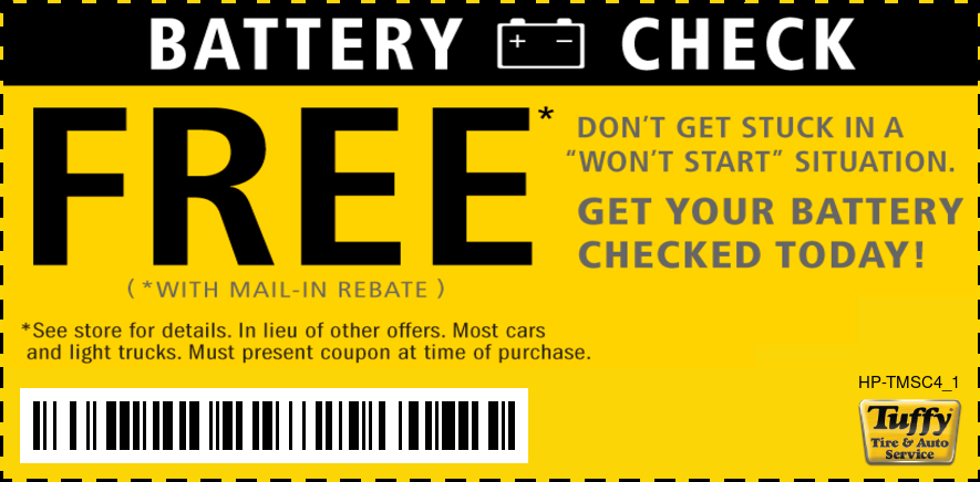 FREE Battery Check W/Mail In Rebate
