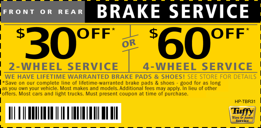 Lifetime Warranty Brake Service 2 Wheel $30 OFF 4 Wheel $60 Off