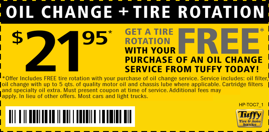 FREE Tire Rotation W/$21.95 Oil Change