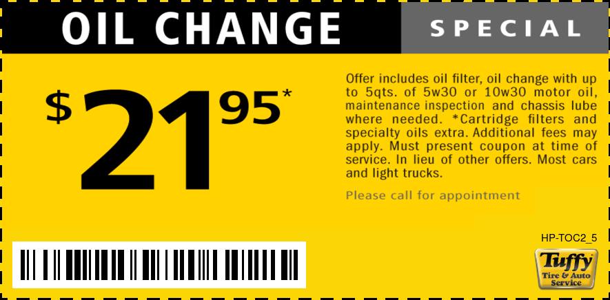OIl Change $21.95 W/Vehicle Maint Ins & Lube Chassis