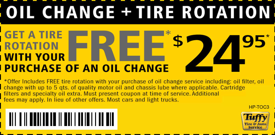 Oil Change & FREE Tire Rotation $24.95