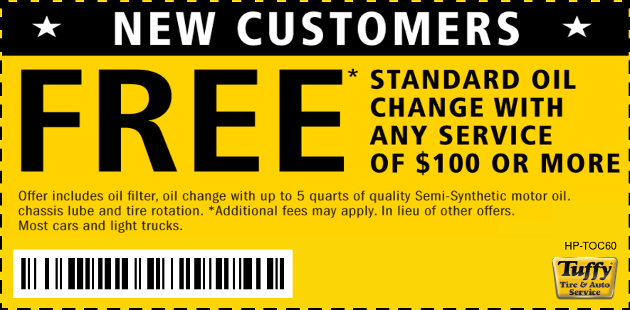 New Customers- FREE Standard Oil Change W/Any Service Of $100 or More