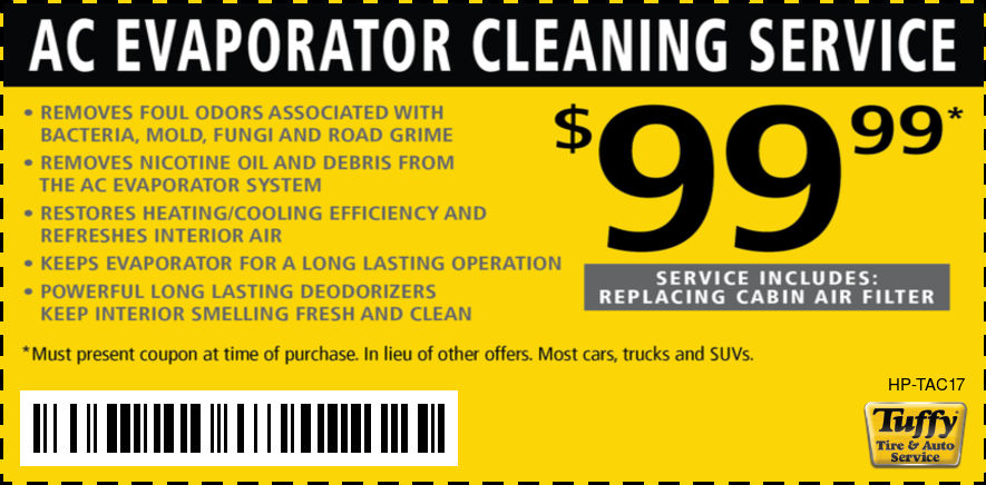A/C Evaporator Cleaning Service $99.99