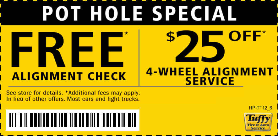 Pot Hole Special Free Alignment Check/$25 OFF 4-Wheel Alignment Service