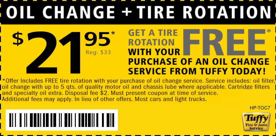 FREE Tire Rotation W/Oil Change $21.95