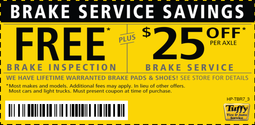 Brake Service Savings Free Brake Inspection PLUS $25 OFF Per Axle Brake Service