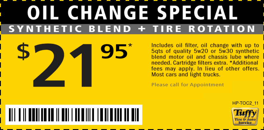 Oil Change Special Synthetic Blend plus Tire Rotation $21.95