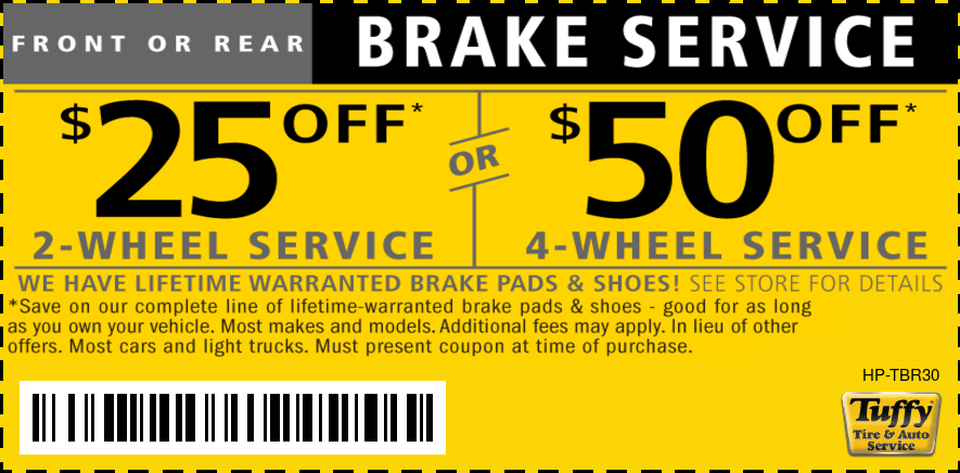 $25/$50 Off Lifetime Warranted Brakes