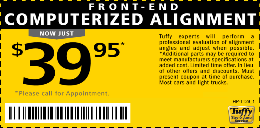 $39.95 Front End Computerized Alignment
