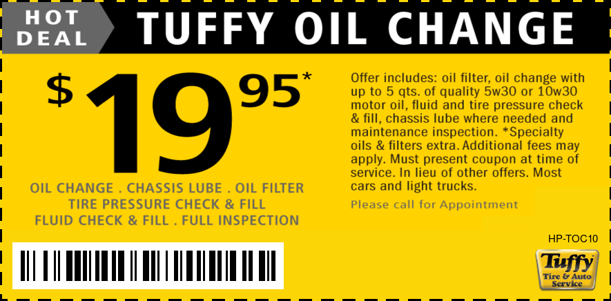 Oil Change $19.95 Plus Inspection