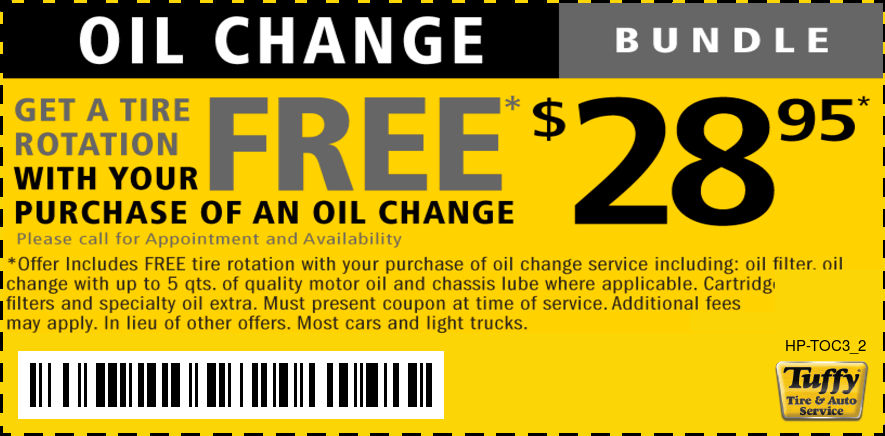 Oil Change & FREE Tire Rotation $28.95