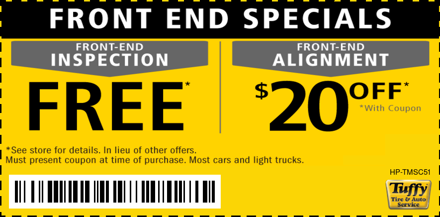 Free Front End Inspection/$20 Off Alignment
