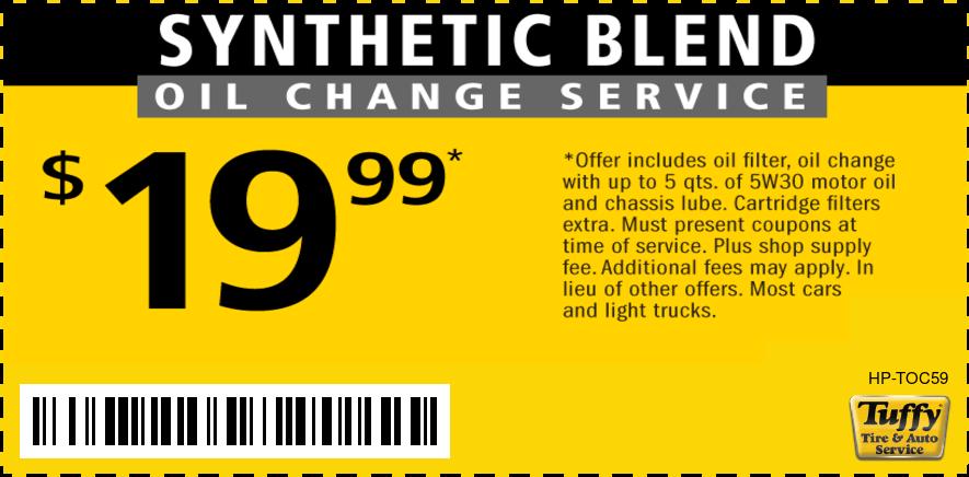 $19.99 SynBlendOilChg & Filter