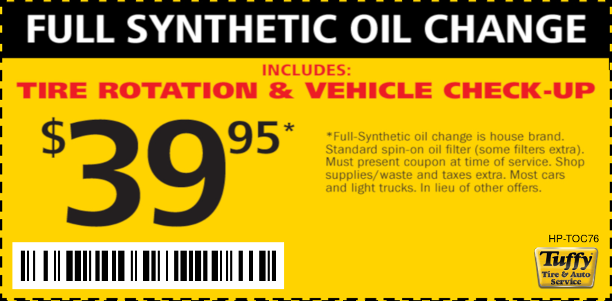 $39.95 Full Synth Oil Change W/Tire Rotate