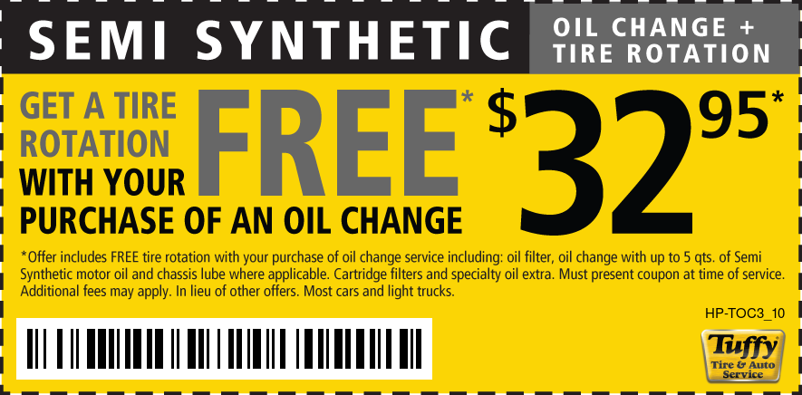 Semi Synthetic Oil Change W/Tire Rotate $32.95