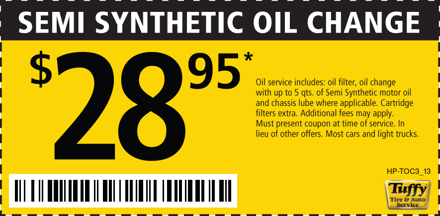 Semi Synthetic Oil Change $28.95