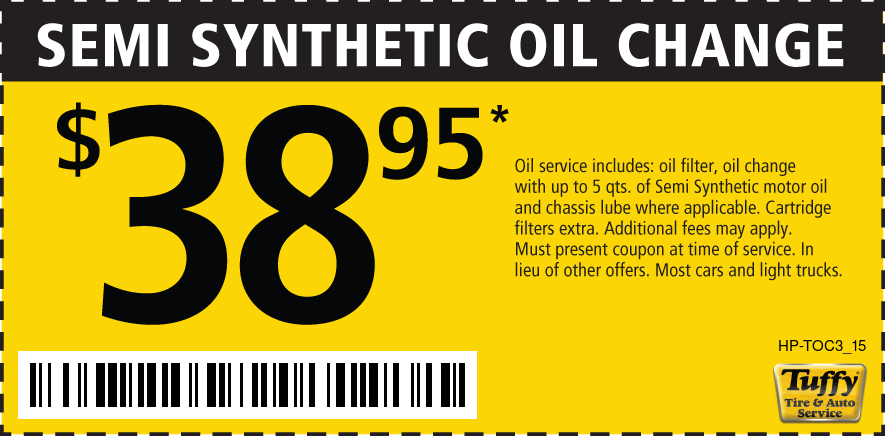 Semi Synthetic Oil Change $38.95
