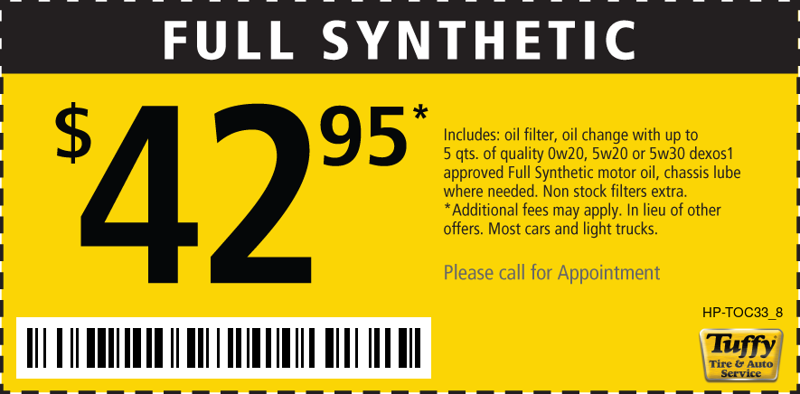 Full Synthetic Oil Change $42.95