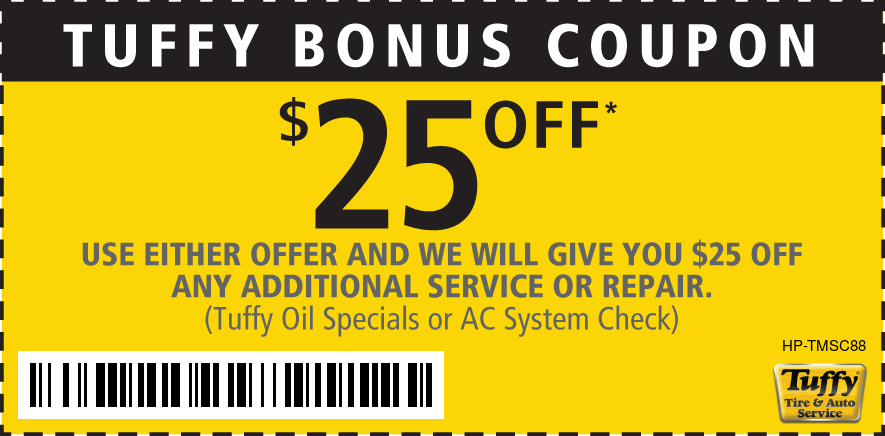 $25 Tuffy Bonus Coupon