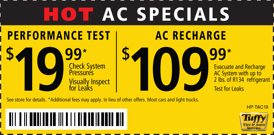 Hot AC Specials $19.99 Performance test/$109.99 Recharge