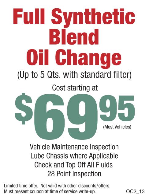 $69.95 Full Synthetic Blend Oil Change