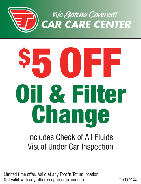 $5 Off Oil Change Toot'n Totum