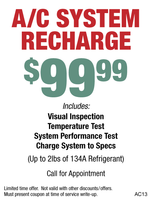 A/C System Recharge $99.99