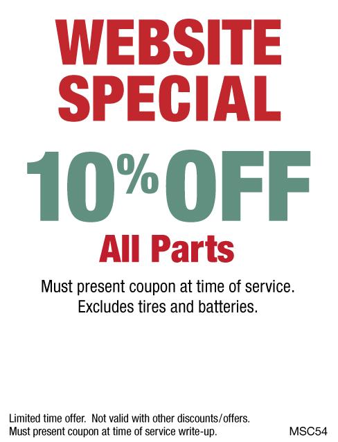 Website Special 10% OFF Parts