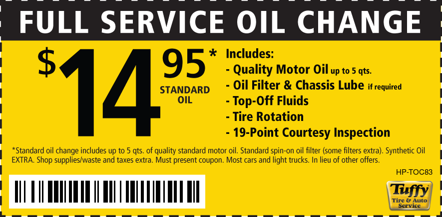 Full Service Oil Change $14.95 W/Rotate