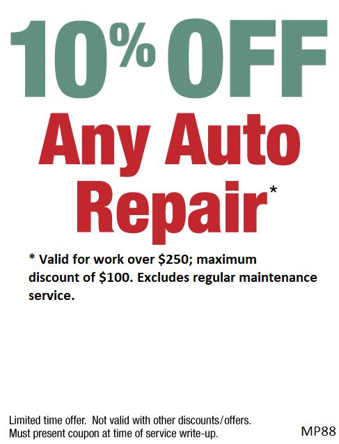 10% off Auto Repairs $250 or more