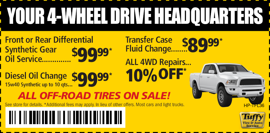 4-Wheel Drive HQ Front & Rear Differential Service $99.99 Transfer Case Fluid $89.99